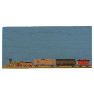 Pixel Art Locomotives Wood USB Flash Drive