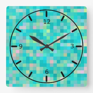 Pixel Art Multicolor Pattern Square Wall Clock