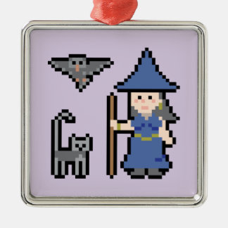 Pixel Art Witch Ornament