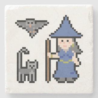 Pixel Art Witch Stone Beverage Coaster