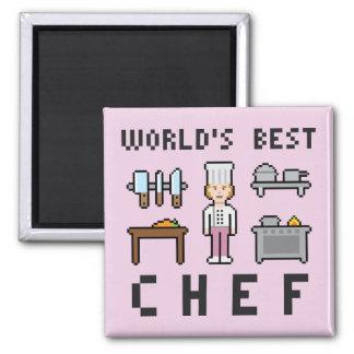 Pixel Best Female Chef Square Magnet