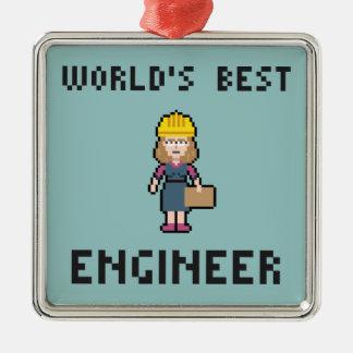 Pixel Best Female Engineer Metal Ornament