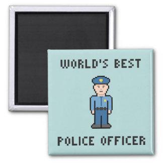 Pixel Best Police Officer Square Magnet