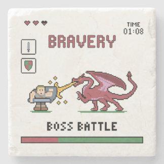 Pixel Boss Battle Marble Stone Coaster
