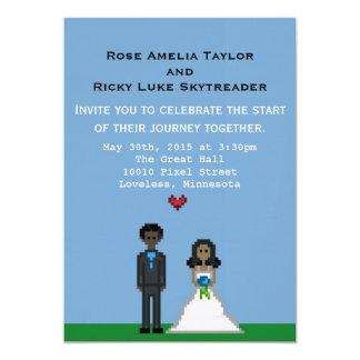 "Pixel Bride and Groom Wedding Invitation 5"" X 7"" Invitation Card"