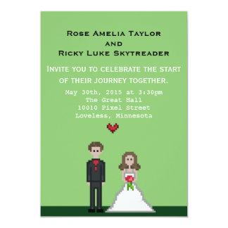 "Pixel Bride & Groom Wedding Invite 5"" X 7"" Invitation Card"