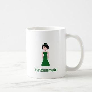 Pixel Bridesmaid - Green Basic White Mug