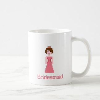 Pixel Bridesmaid - Pink with Green Eyes Custom Coffee Mug