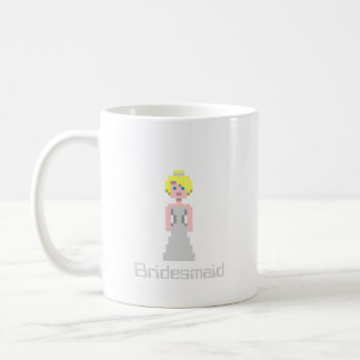 Pixel Bridesmaid - Silver Basic White Mug