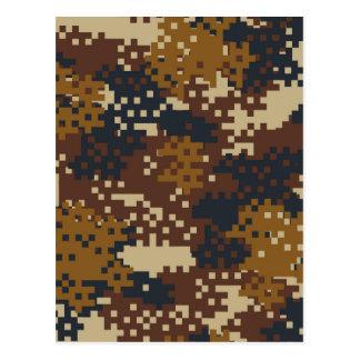 Pixel Brown Camouflage Postcard