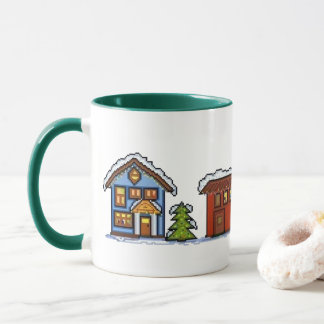 Pixel Christmas Village Mug