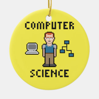 Pixel Computer Science Circle Ornament