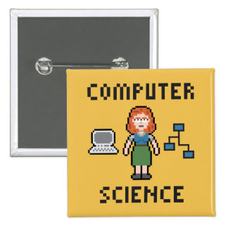 Pixel Computer Science - Female - Button