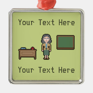 Pixel Custom Female Teacher Metal Ornament