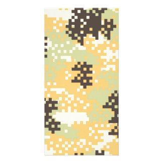 Pixel Desert Camouflage Custom Photo Card