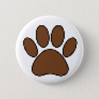 Pixel Dog Paw Print 6 Cm Round Badge