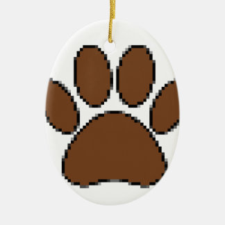 Pixel Dog Paw Print Ceramic Ornament