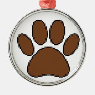 Pixel Dog Paw Print Metal Ornament