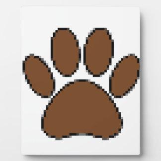 Pixel Dog Paw Print Plaque