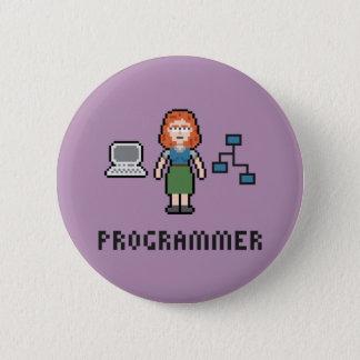 Pixel Female Programmer Round Button
