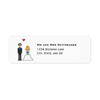 Pixel Gamer Blonde Bride & Groom Wedding Return Address Label