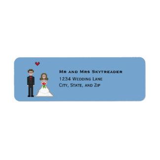 Pixel Gamer Bride & Groom Wedding Return Address Return Address Label