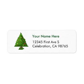 Pixel Gamer Christmas Tree White Address Label