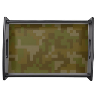 Pixel Green Army Camouflage pattern Serving Tray