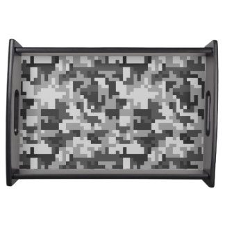 Pixel Grey and Black Army pattern Serving Tray