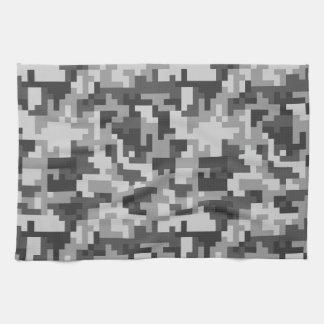 Pixel Grey and Black Army pattern Tea Towel