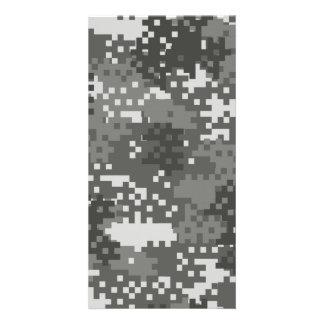 Pixel Grey & White Urban Camouflage Photo Cards