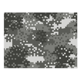Pixel Grey & White Urban Camouflage Postcard