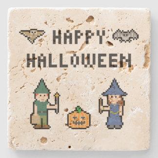 Pixel Happy Halloween Stone Coaster