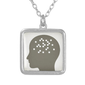Pixel in a head silver plated necklace