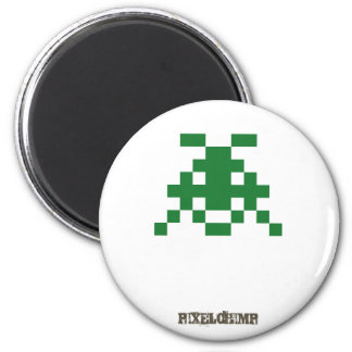 Pixel_Invader 6 Cm Round Magnet