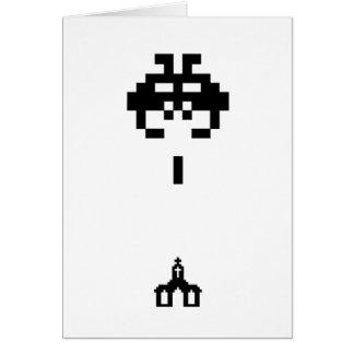 Pixel Invader vs Chapel Greeting Card