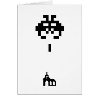 Pixel Invader vs Church Greeting Card