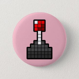 Pixel Joystick Light Pink 6 Cm Round Badge