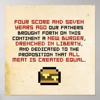 Pixel Lincoln Gettysburger Address Poster