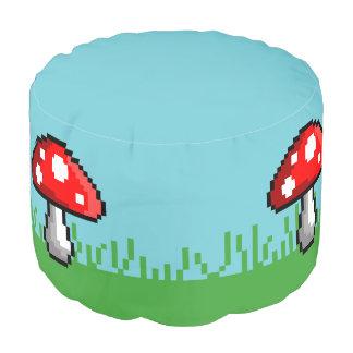 Pixel Mushroom Meadow Round Pouf