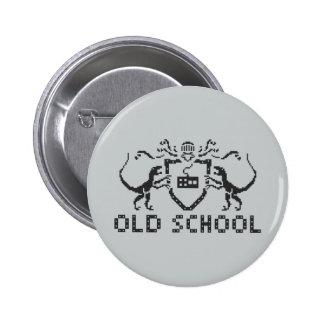 Pixel Old School Dinosaur Black Design Button