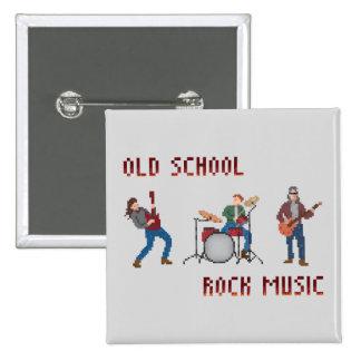 Pixel Old School Rock Music 15 Cm Square Badge