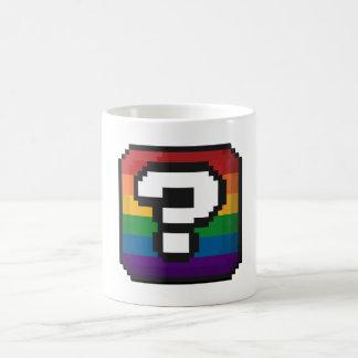 """Pixel Rainbow Question Mark """"?"""" Box Basic White Mug"""