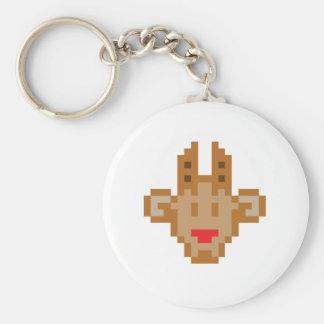 Pixel Reindeer Basic Round Button Key Ring