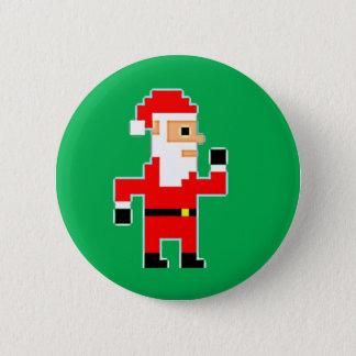 Pixel Santa Clause 6 Cm Round Badge