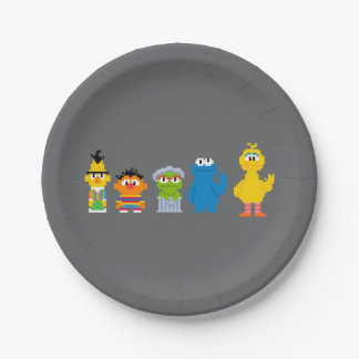Pixel Sesame Street Characters 7 Inch Paper Plate