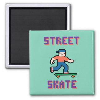 Pixel Skater Magnet 2 Inch Square Magnet