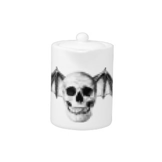 Pixel Skull with Bat Wings