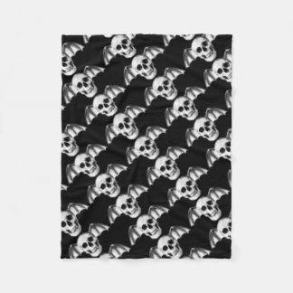 Pixel Skull with Bat Wings Fleece Blanket