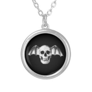 Pixel Skull with Bat Wings Silver Plated Necklace